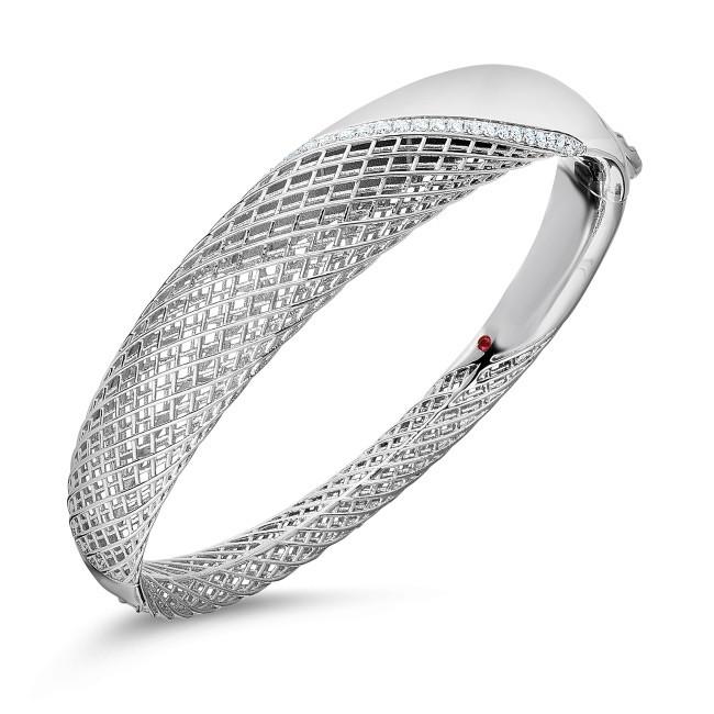 Roberto Coin White Gold & Diamond Rounded Soie Bangle Bracelet