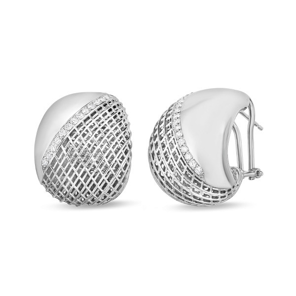 Roberto Coin White Gold & Diamond Soie Curved Earrings