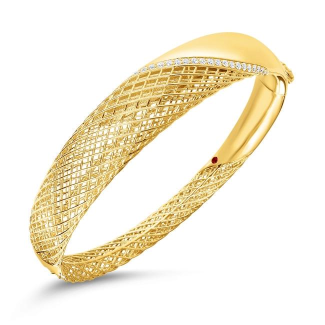 Roberto Coin Yellow Gold & Diamond Rounded Soie Bangle Bracelet