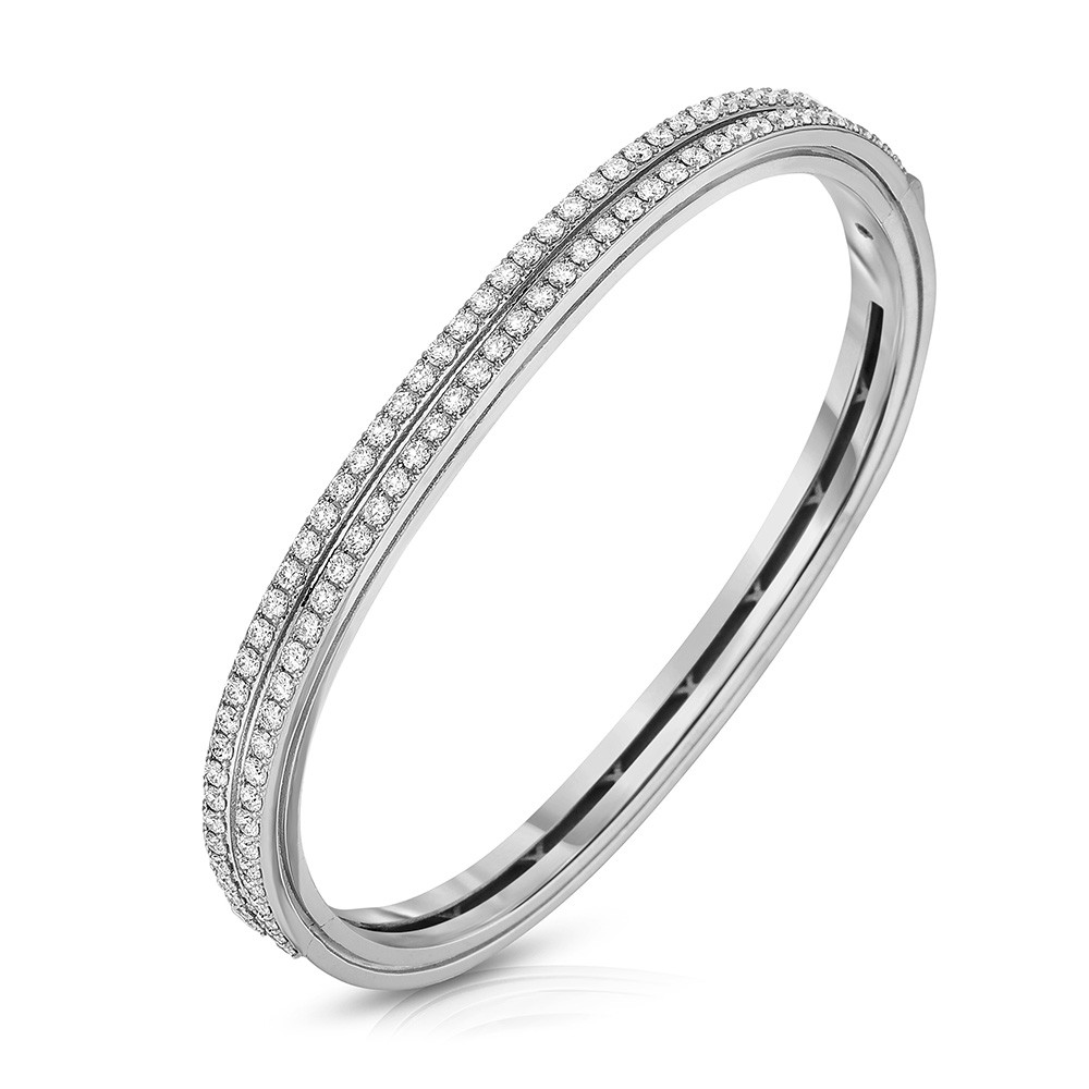 Roberto Coin Portofino 2 Row White Gold & Diamond Bangle Bracelet