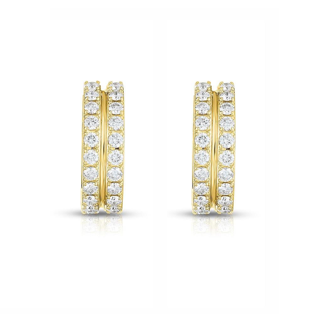 Roberto Coin Portofino 2 Row Yellow Gold Diamond Hoop Earrings