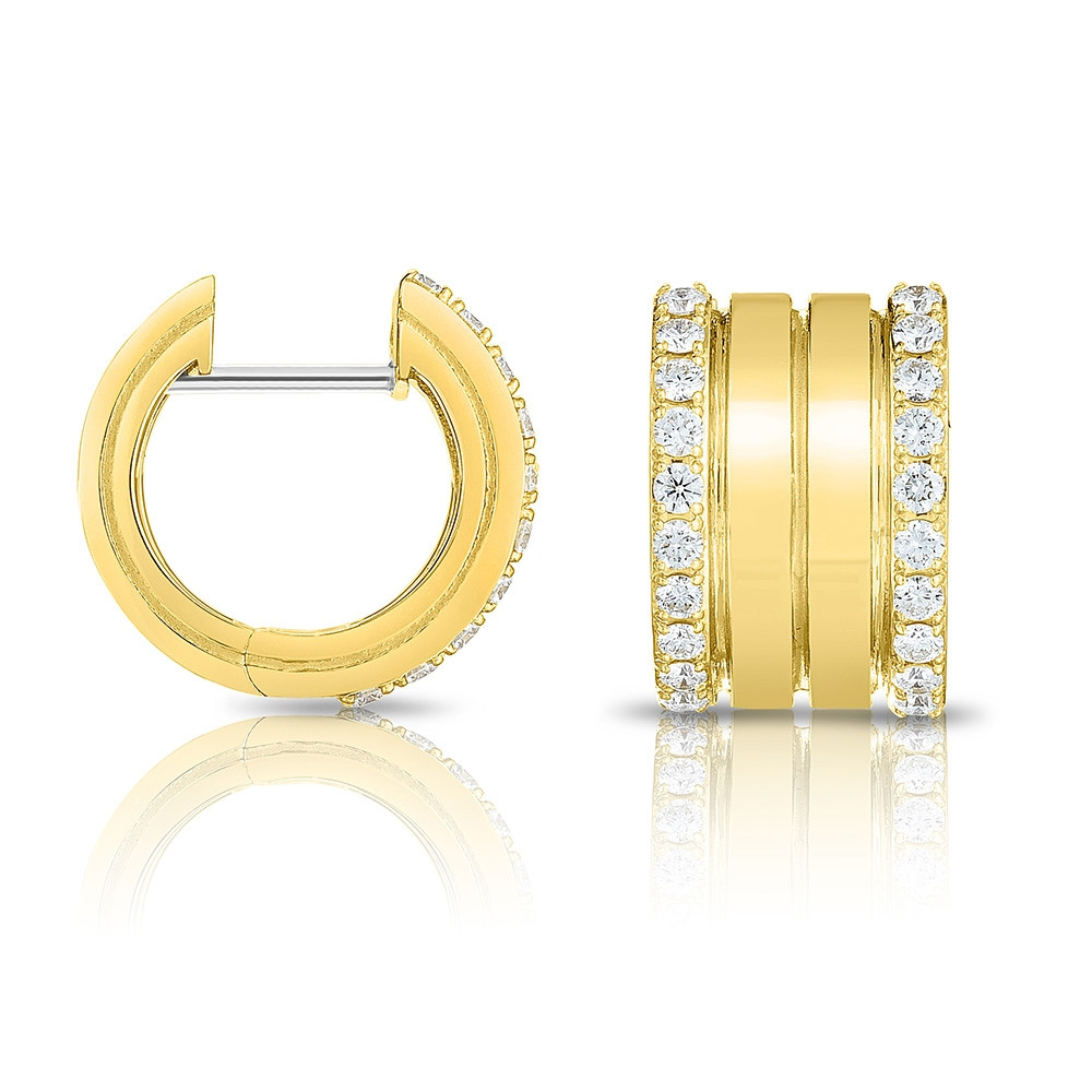 Roberto Coin Yellow Gold 4 Row Diamond Portofino Hoop Earrings Side View