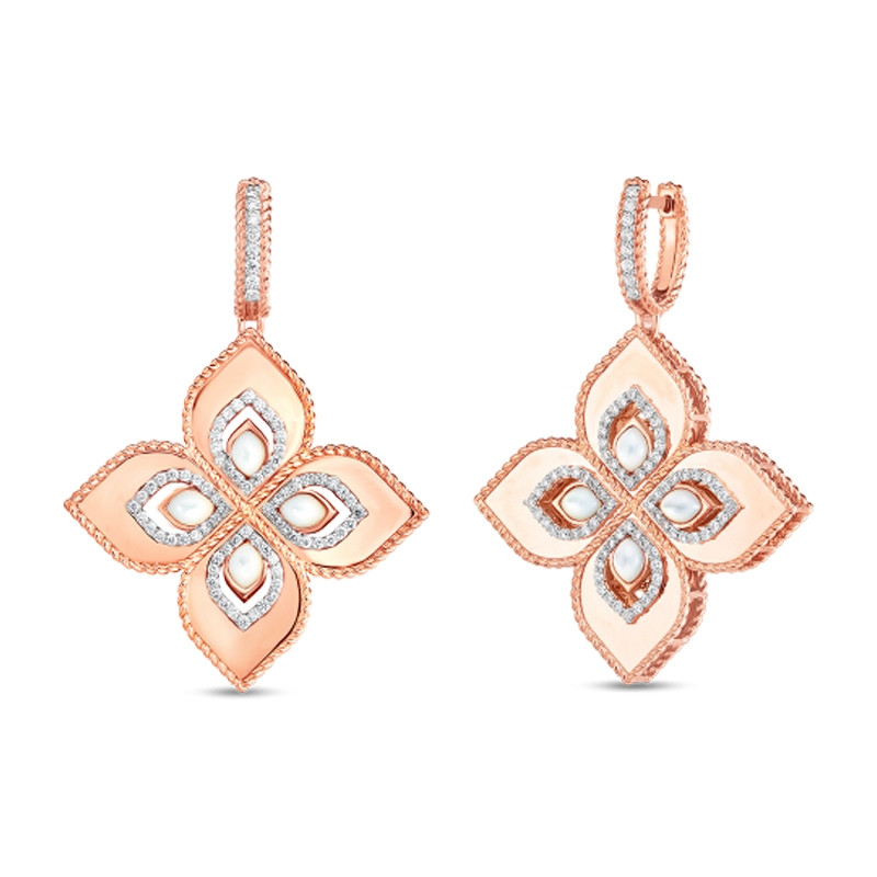 flower earrings Long earrings gold earrings mother-of-pearl earrings