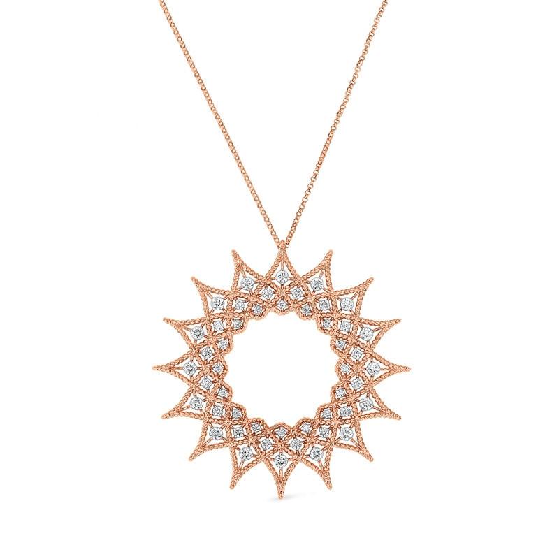 Roberto Coin Rose Gold Diamond Starburst Roman Barocco Necklace
