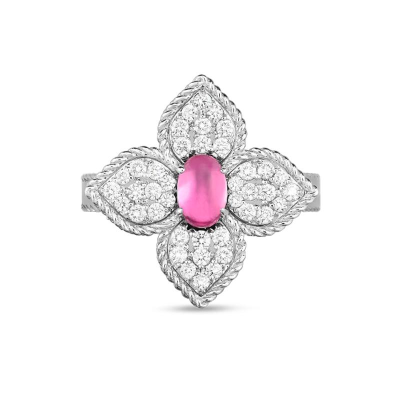 Roberto Coin White Gold Diamond & Rubellite Princess Flower Ring