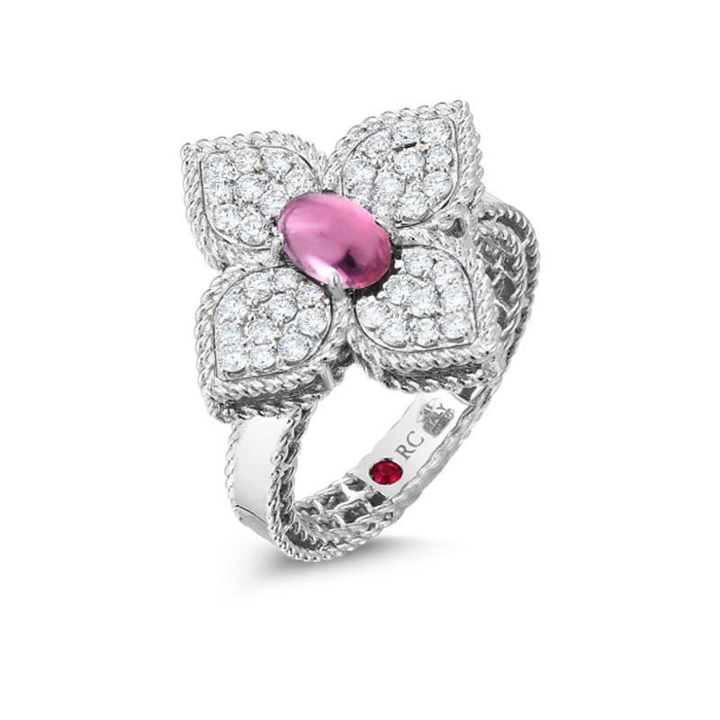 Roberto Coin White Gold Diamond & Rubellite Princess Flower Ring Angle View