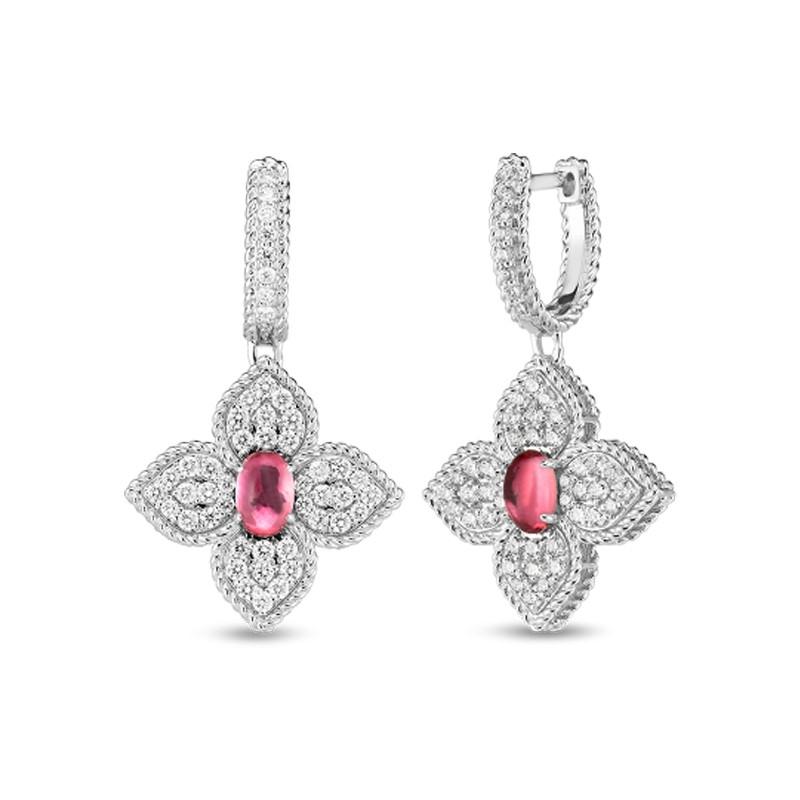 Roberto Coin White Gold Diamond & Rubellite Princess Flower Drop Earrings