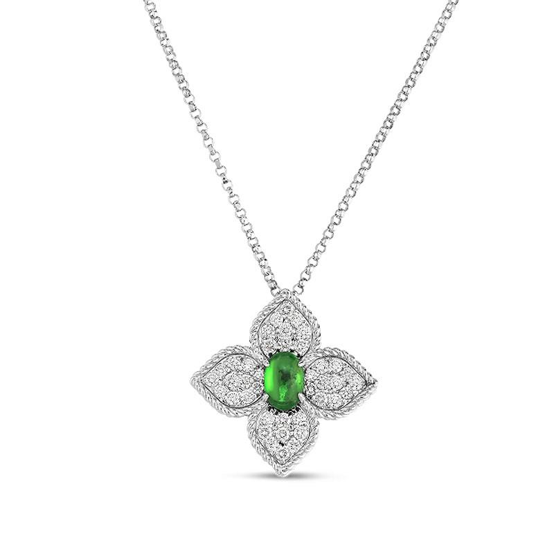 Roberto Coin White Gold Diamond & Tsavorite Princess Flower Pendant Necklace