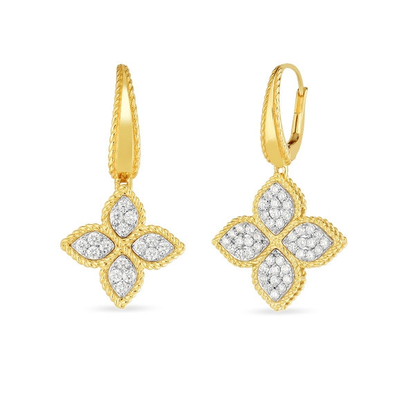 Roberto Coin Yellow Gold & Diamond Princess Flower Drop Earrings