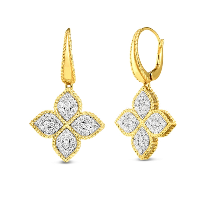 Roberto Coin Yellow Gold Princess Flower Large Diamond Drop Earrings