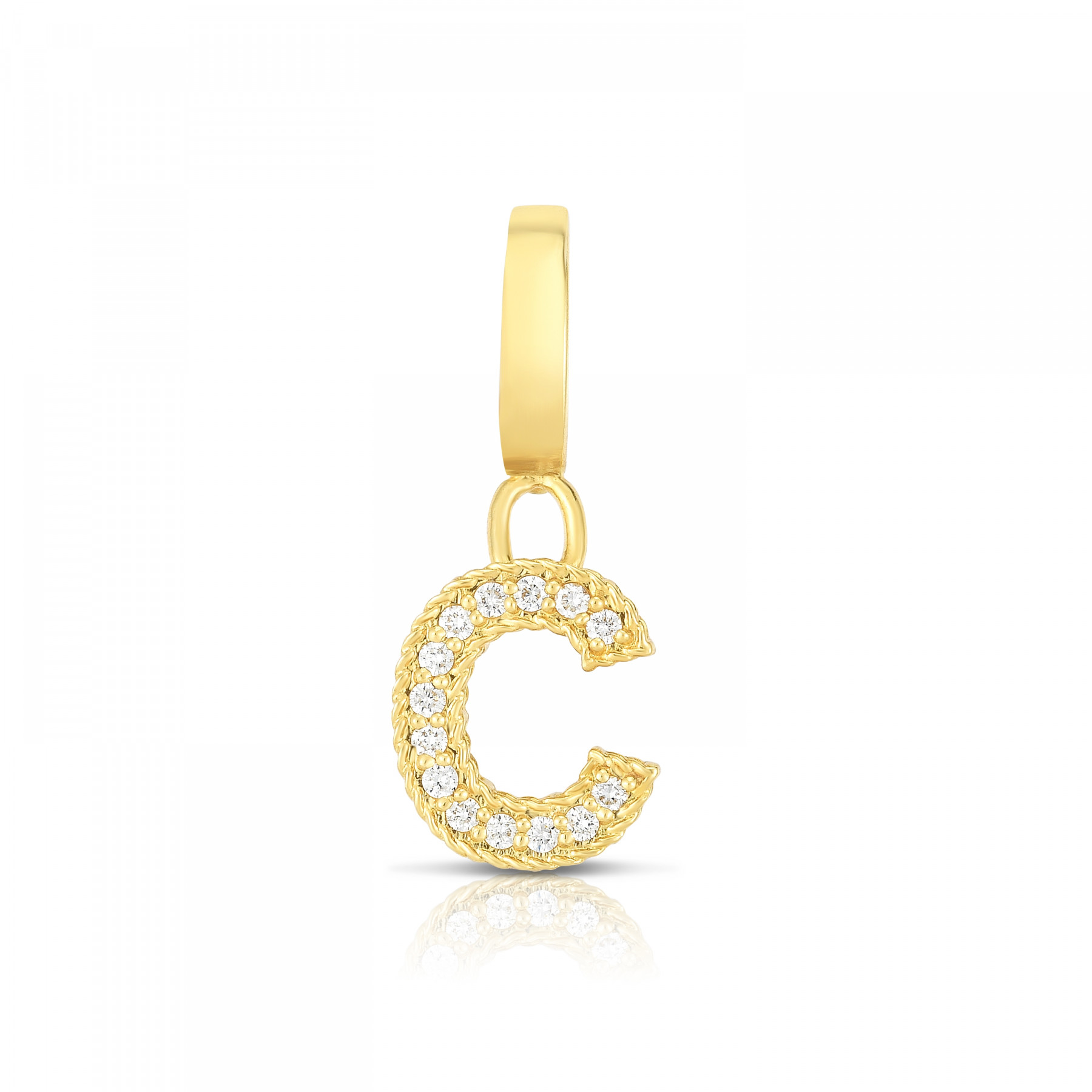 Roberto Coin Diamond Letter C Charm in Yellow Gold