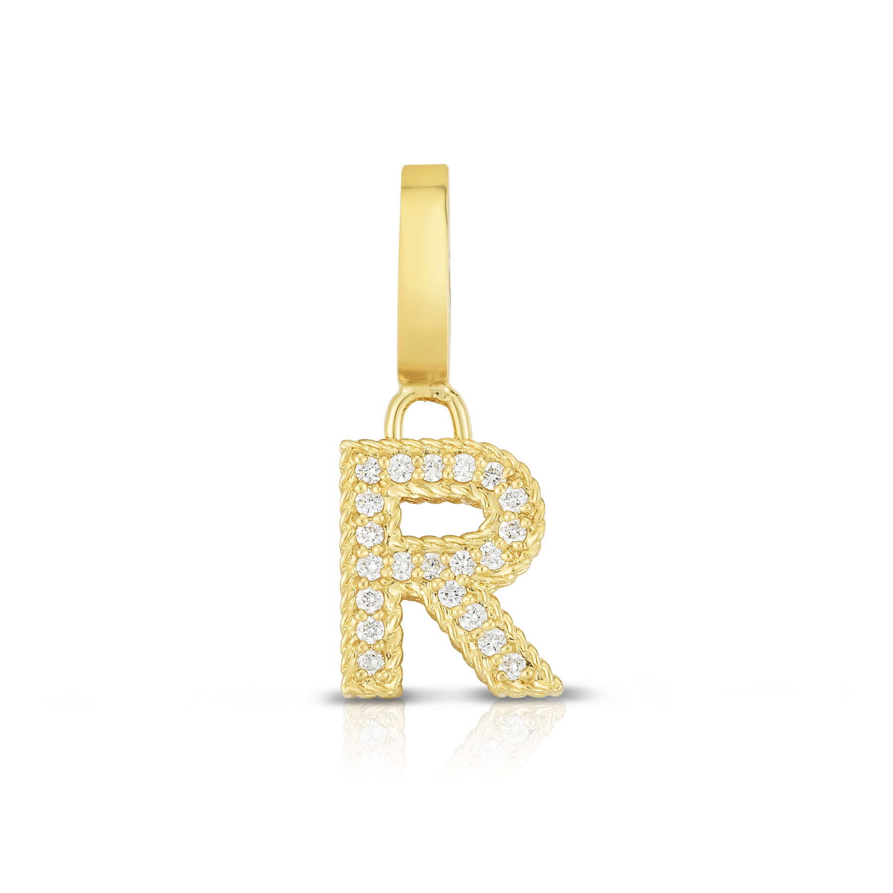 Roberto Coin Diamond Letter M Charm in Yellow Gold