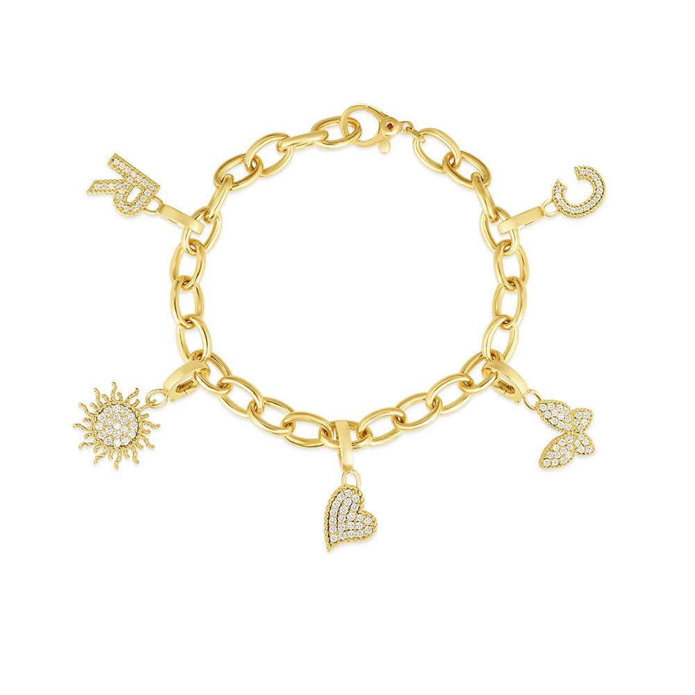 Roberto Coin Diamond Charm Bracelet in Yellow Gold
