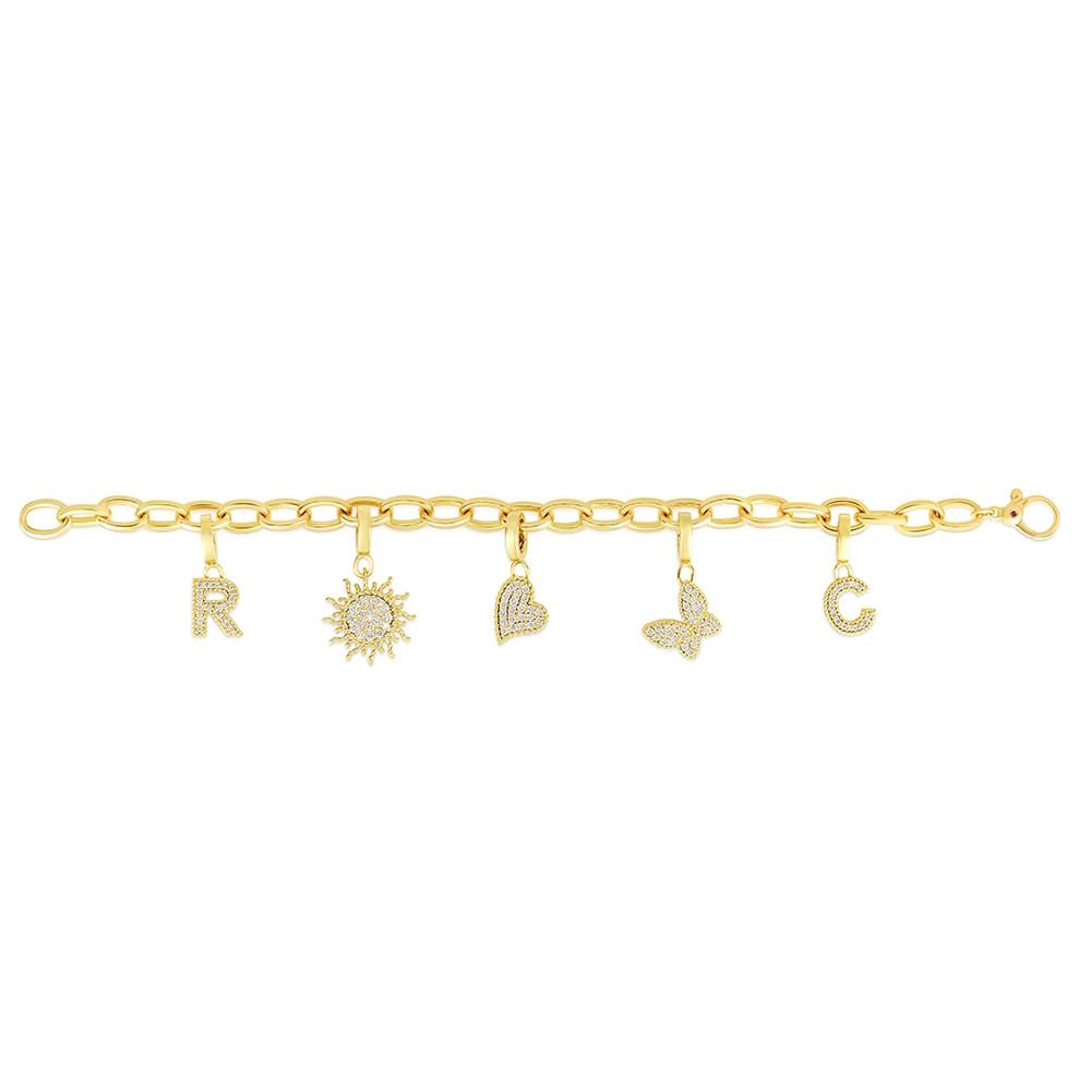 Roberto Coin Diamond Charm Bracelet Flat Lay