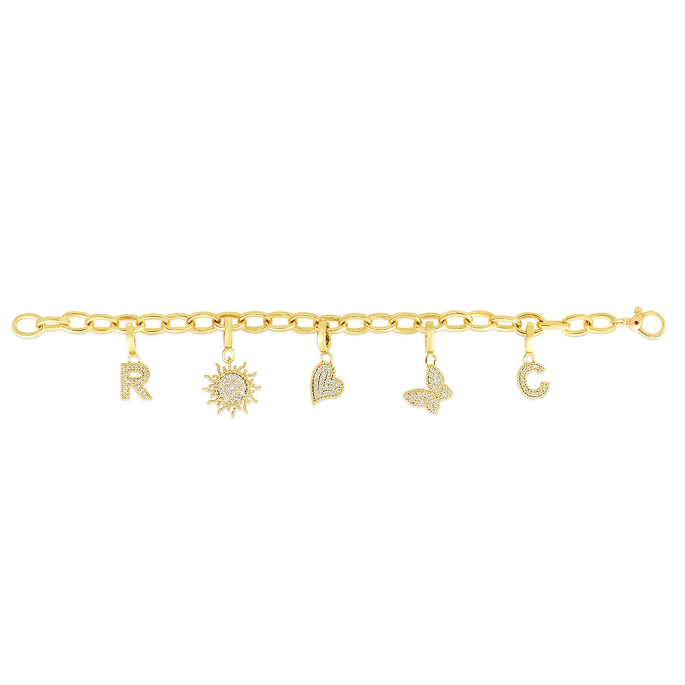 Roberto Coin Diamond Charm Bracelet in Yellow Gold Flat Lay