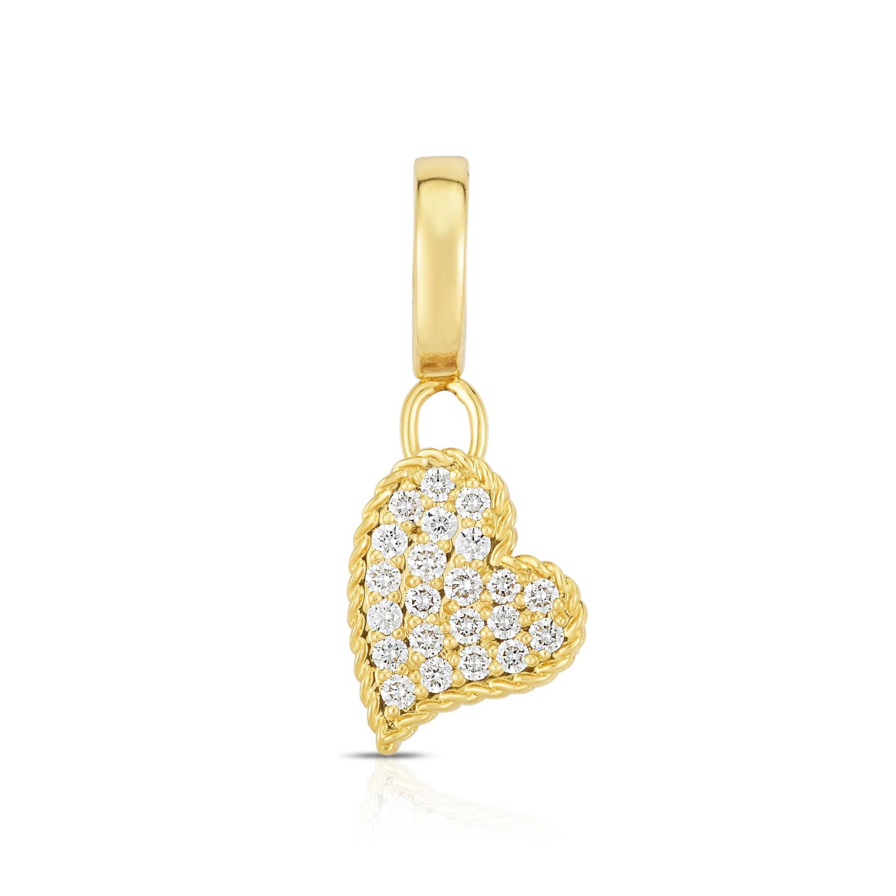 Roberto Coin Diamond Heart Charm in Yellow Gold