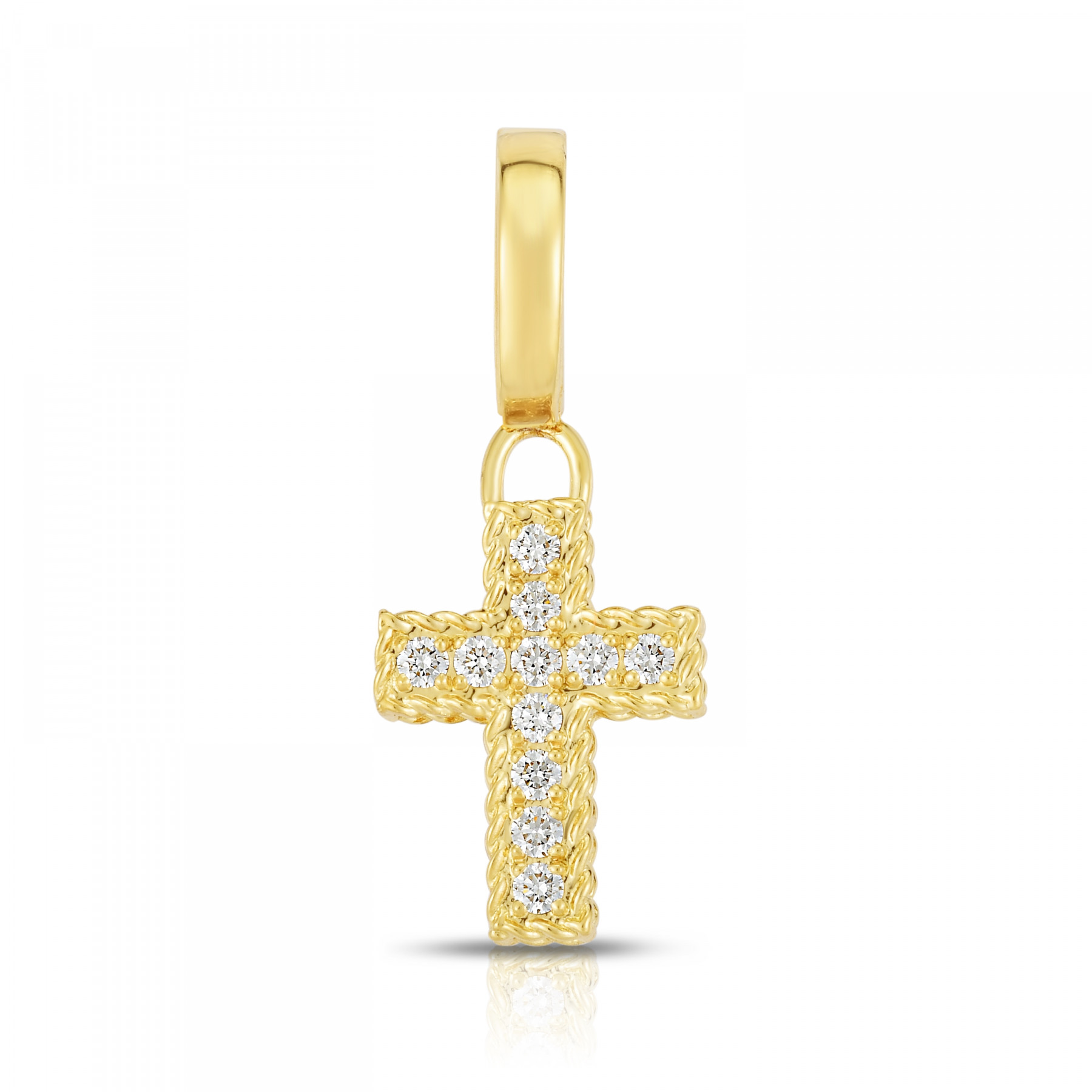 Roberto Coin Diamond Cross Charm in Yellow Gold