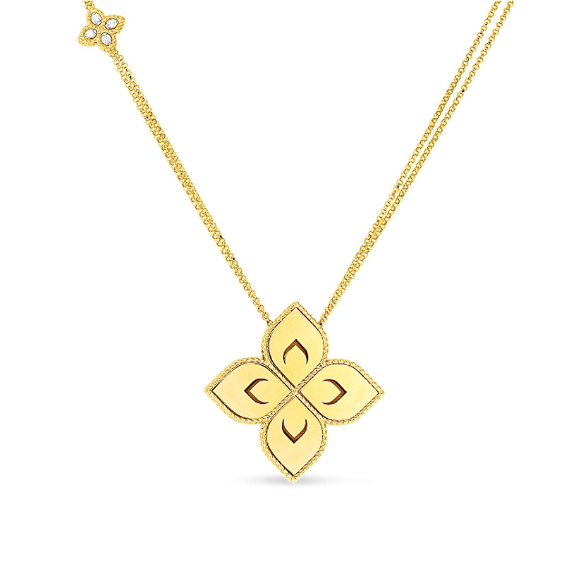 Roberto Coin Yellow Gold Medium Flower Diamond Accent Venetian Princess Pendant Necklace