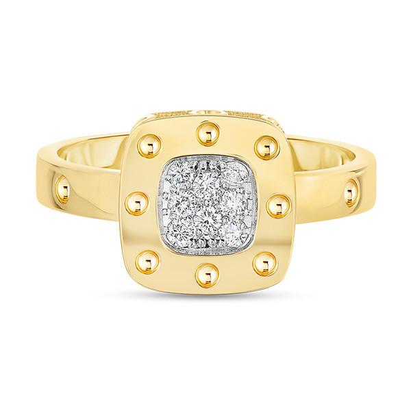 Roberto Coin Yellow Gold & Diamond Pois Moi Square Ring
