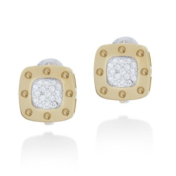 Roberto Coin Pois Moi Pave Diamond Square Earrings