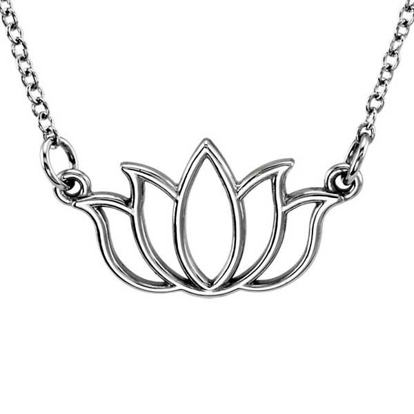 White Gold Lotus Flower Necklace