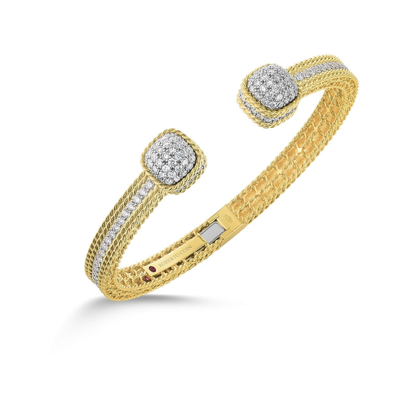 Roman Barocco Yellow Gold Diamond Dome End Roberto Coin Bangle Bracelet