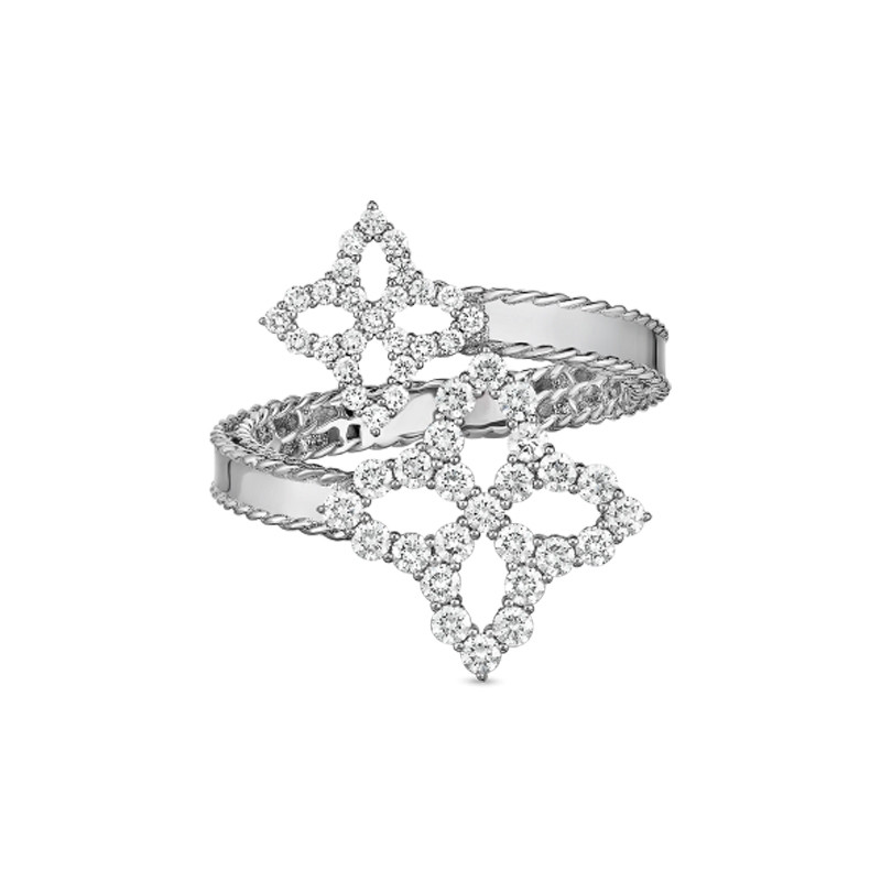 Roberto Coin White Gold Diamond Bypass Princess Flower Ring
