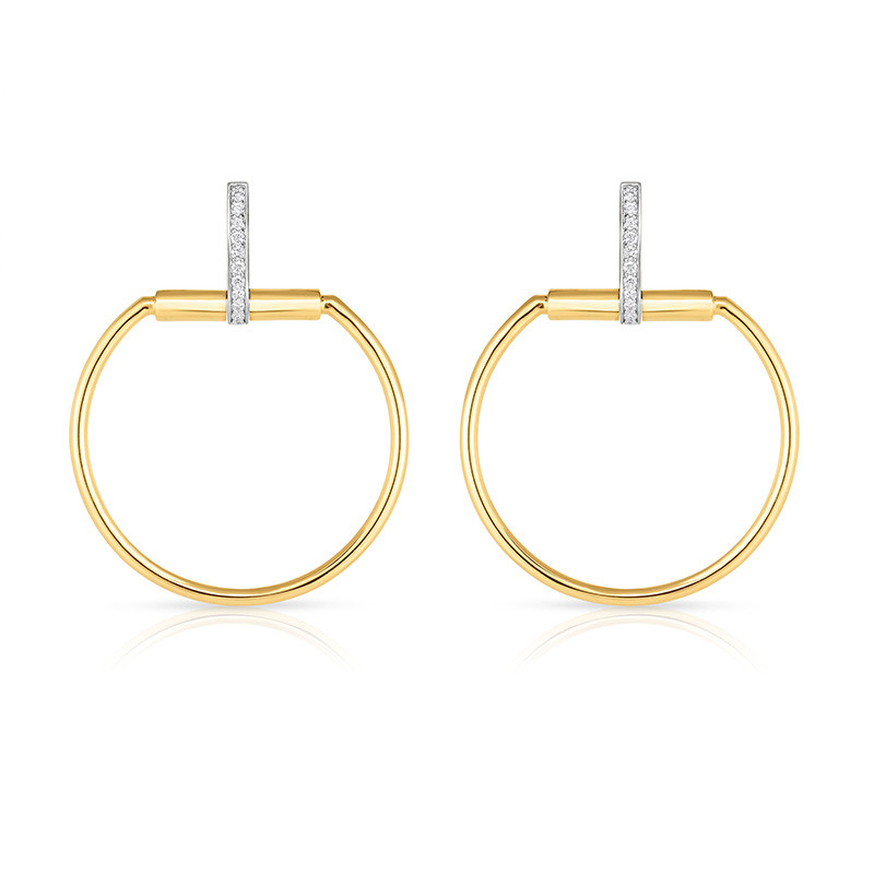 Roberto Coin Yellow Gold Large Classica Parisienne Diamond Circle Drop Earrings