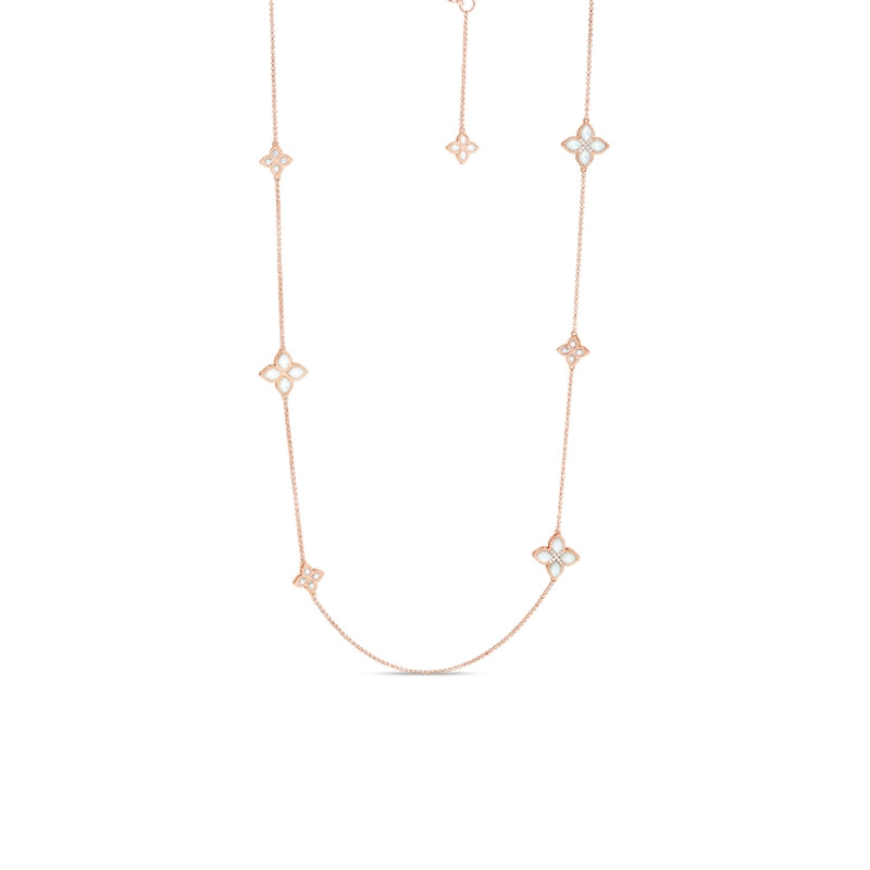 Venetian Princess Rose Gold Mother of Pearl & Diamond Flower Roberto Coin Station Necklace Close Up