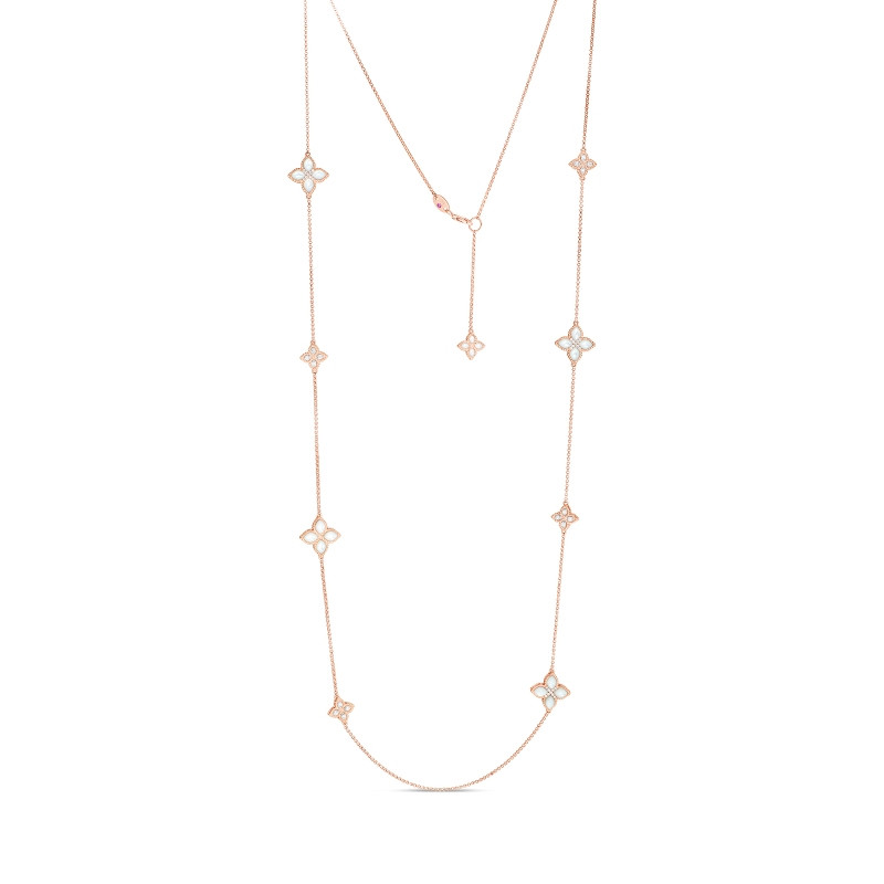 Venetian Princess Rose Gold Mother of Pearl & Diamond Flower Roberto Coin Station Necklace