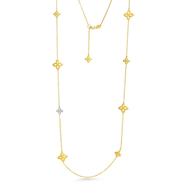Roberto Coin Open Flower Princess Yellow Gold & Diamond Station Necklace