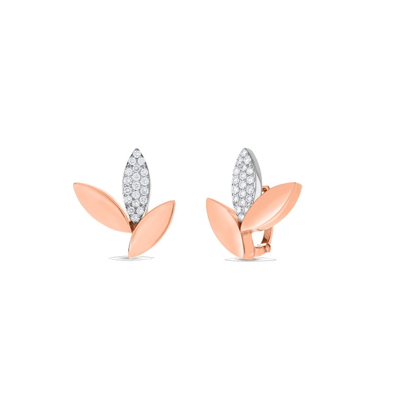 Roberto Coin Petals Rose Gold Diamond Stud Earrings