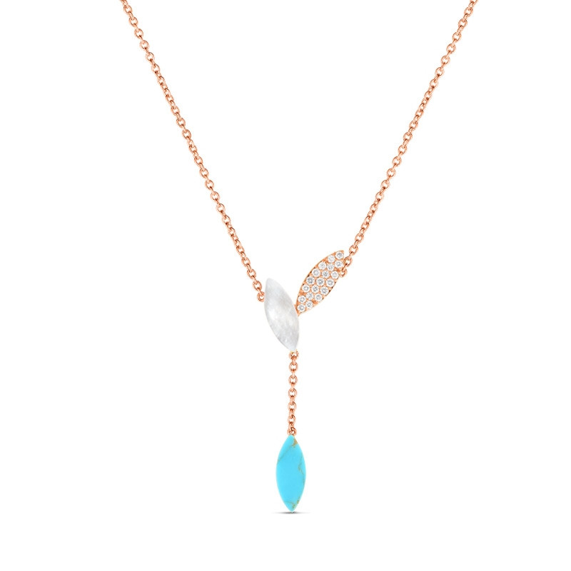Roberto Coin Petals Rose Gold Turquoise & Diamond Drop Necklace