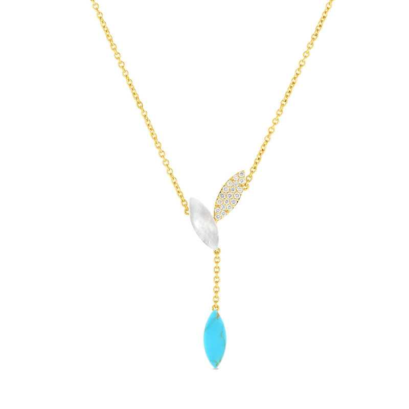 Roberto Coin Petals Yellow Gold Turquoise & Diamond Drop Necklace