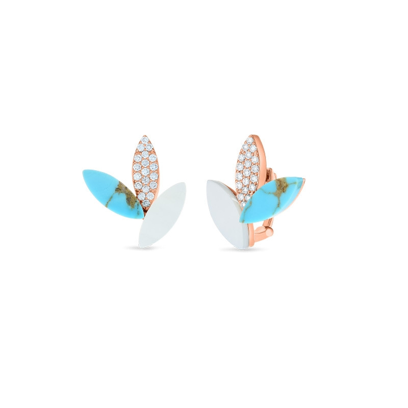 Roberto Coin Petals Rose Gold Turquoise & Diamond Stud Earrings