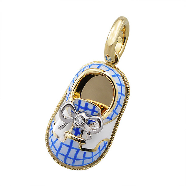 Aaron Basha 18kt Yellow Gold Blue and White Gingham Saddle Shoe with Diamond in Bow