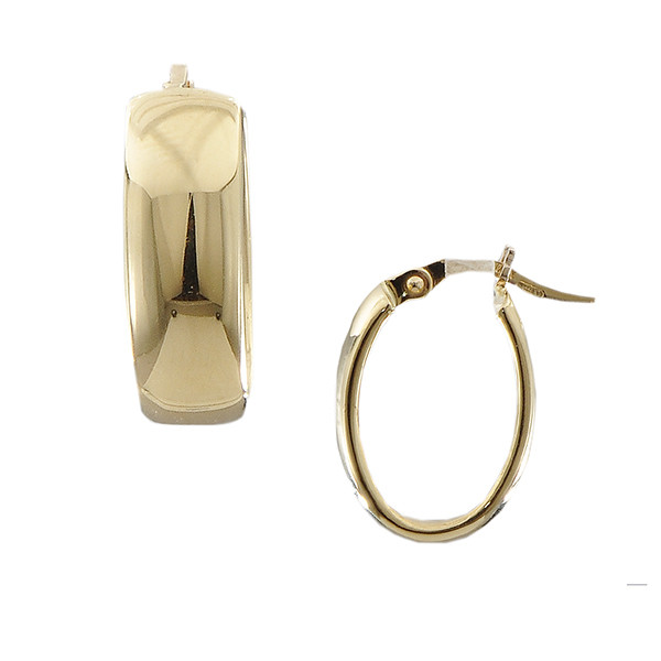 Roberto Coin Designer Gold Small Wide Oval Hoop Yellow Gold Earrings