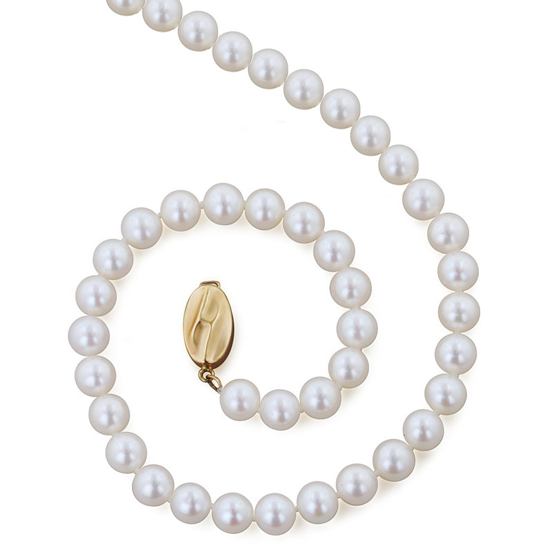 """Honora Yellow Gold Classic White 6mm A+ Pearl 18"""" Necklace"""