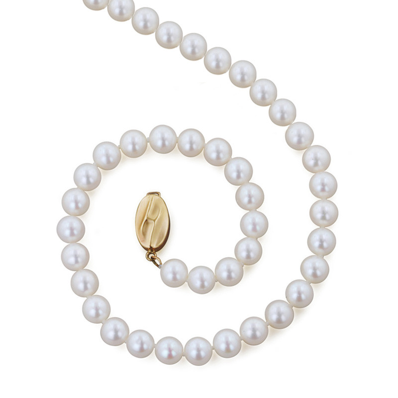 """Honora Classic White 6mm A+ Pearl 20"""" Yellow Gold Necklace"""