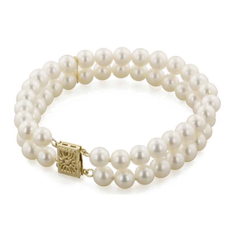 Honora Classic White 6mm A+ Pearl Two Row Yellow Gold Bracelet