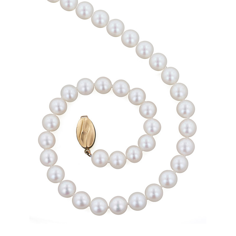 """Honora Classic White 7mm A+ Pearl 16"""" Yellow Gold Necklace"""