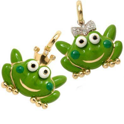 Aaron Basha Frog Princess with White Pave Diamond Bow Charm