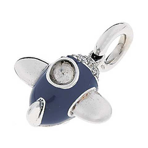 Aaron Basha Airplane Navy Blue 18kt White Gold Charm