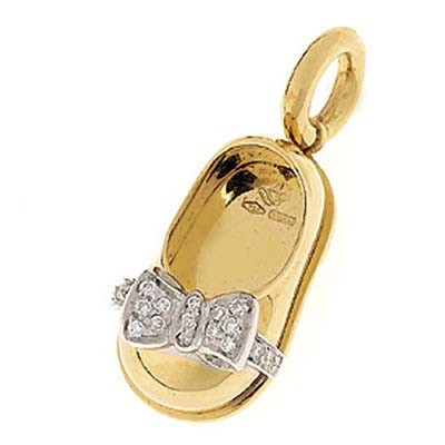 Aaron Basha Baby Shoe 18kt Gold with White Gold Pave Bow