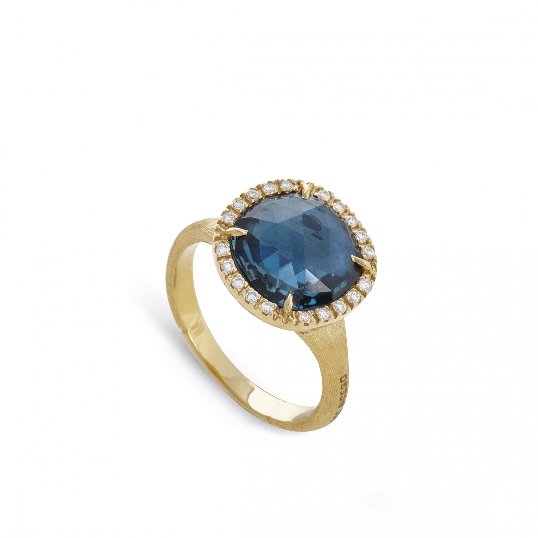 Marco Bicego Yellow Gold Jaipur London Blue Topaz & Diamond Ring
