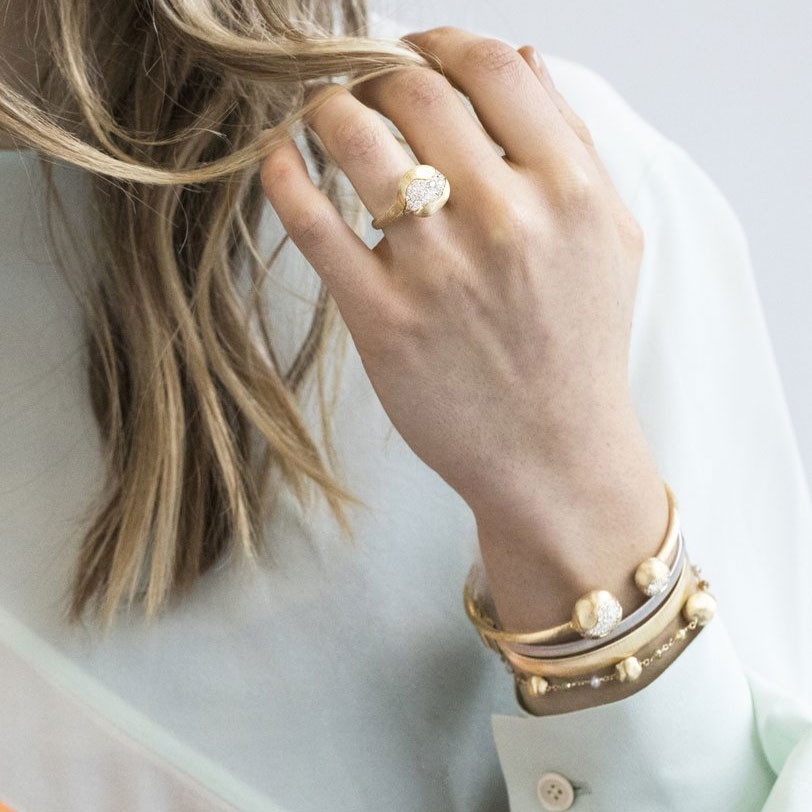 Marco Bicego Africa Constellation Yellow Gold Diamond Kissing Bangle on Model