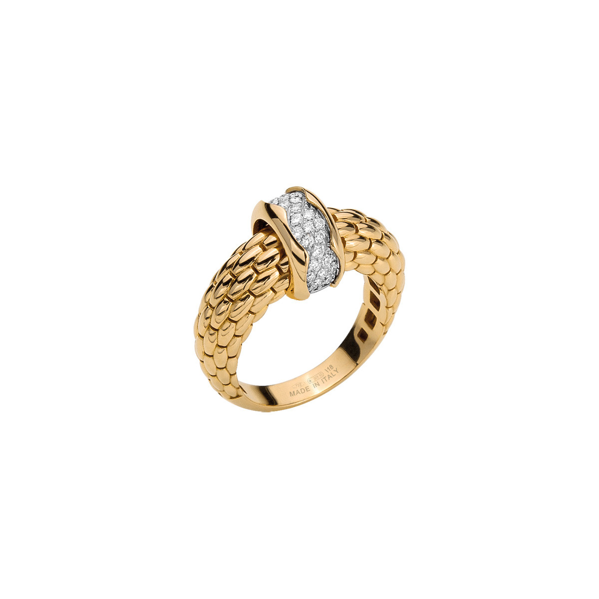 Fope Flex'it Gold & Diamond Pavé Ring angle view