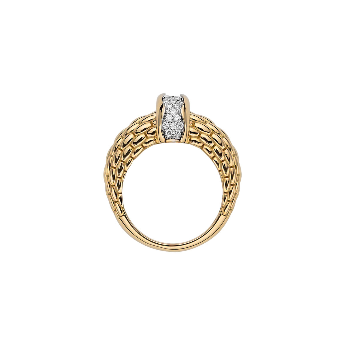 Fope Flex'it Gold & Diamond Pavé Ring side view