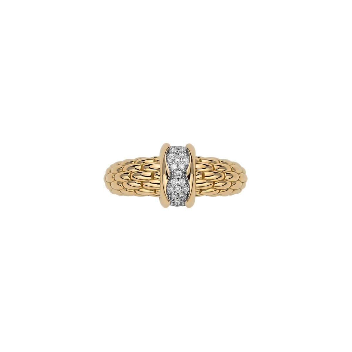 Fope Flex'it Gold & Diamond Pavé Ring front view