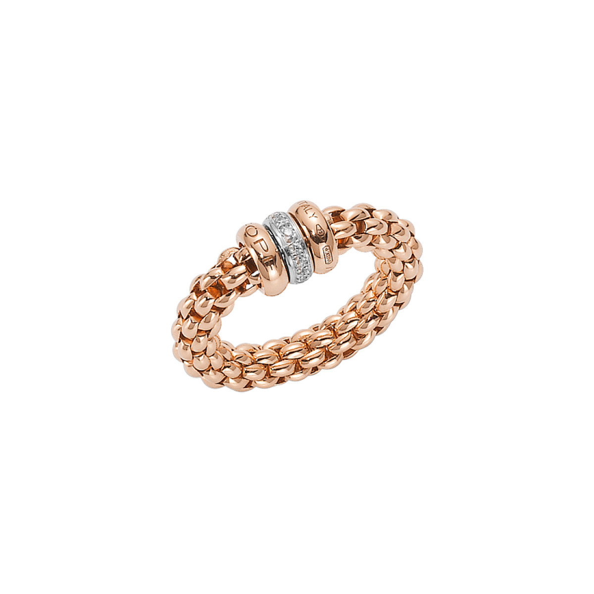 Fope Solo Flex It Rose Ring with Diamond Rondelle Ring